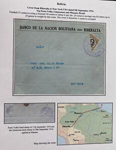 1916 Riberalta Bolivia National bank Cover To New York Usa Bisect Stamp