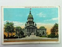 Vintage Postcard 1935 State Capital & Abraham Lincoln Statue Springfield IL