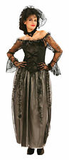 Ladies Black Widow Gothic Fancy Dress Up Costume Halloween Gown Outfit UK 10-14