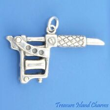 TWO-COIL TATTOO MACHINE or GUN 3D .925 Solid Sterling Silver Charm 6 grams