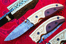 "Damascus 3.0""Blade Custom Pocket Folding knife w/Engraved Bolsters,Walnut --F-14"