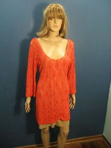 Plus Size 3X orange LACE LINED STRETCHY dress by LIBERTY LOVE