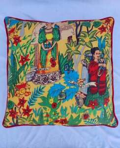 Indian 22x22 Yellow Frida Khalo With Red Piping Cushion Covers Sofa Pillow Cases