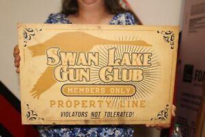 "Vintage 1950's Swan Lake Gun Club Duck Deer Hunting Rifle Shotgun 18"" Metal Sign"