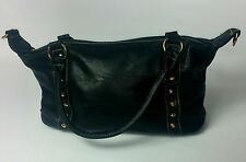 WOMENS BAG BLACK STUDDED  LEATHER  UK FAST POSTAGE NEW  QUILTED