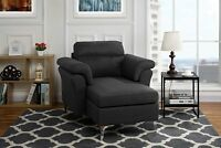 Mid Century Living Room Bedroom Fabric Chaise Lounge with Arm Rests (Dark Grey)