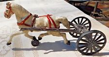 """ANTIQUE HAND PAINTED CAST IRON HORSE W/ WHEELS FROM """"CHIEF"""" (CART MISSING)"""
