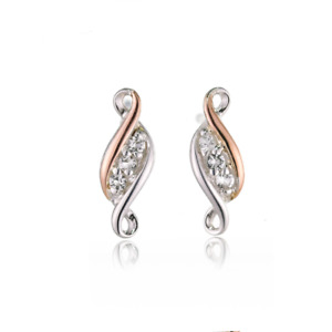 Clogau Silver Earrings Stud Topaz Past Present Future Welsh Rose Gold 3SPPFE