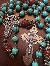 ROSARY ~ OUR LADY OF GUADALUPE ~ 8MM TURQUOISE BEADS ~ BRONZE