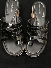 NWOB Donald J Pliner Sheena 2 wedge Blk Patent Sandals  Women's 8M