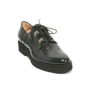 Luca Grossi 152 Navy Patent Leather Lace Up Loafers Comfort Shoes 38.5 / US 8.5