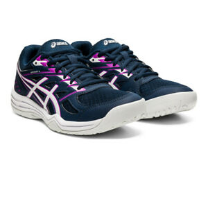 Asics Womens Upcourt 4 Indoor Court Shoes Navy Blue Sports Squash Netball
