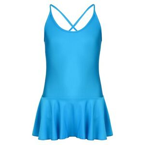 Girls Teenager Blue Spandex Elastic Shiny Skirt Leotard - Ballet Dance Gymnastic