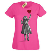 Create T-Shirt Banksy girl cute heart Womens Ladies artist artists gift