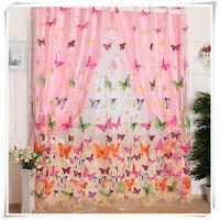 Schmetterling Gardinen Fenster Vorhang Voile Dekoschal Transparent Schal 1x2m