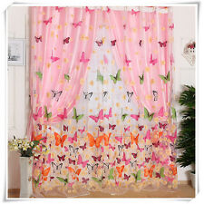 Schmetterling  Blumen Voile Tulle Vorhang Fenstervorhang Türvorhang Gardine Deko