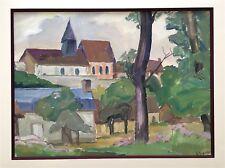 Rageade André aquarelle et gouache signée paysage campagne village France