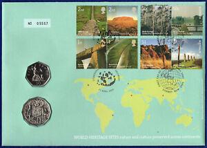 GB 50p, Australia 50c, 2005 BU Coin Cover, World Heritage Sites (Ref. t4205)