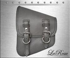 La Rosa Gray Leather Harley Softail Rigid Bobber Left Swing Arm Solo Saddlebag