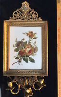 Antique Brass Candle Wall Sconce Ornate Bradley style Enamel Porcelain Roses