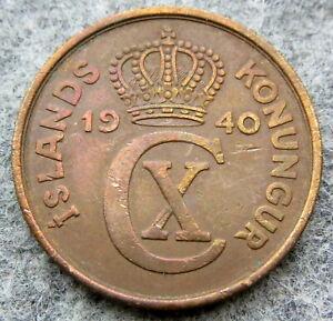 ICELAND CHRISTIAN X 1940 5 AURAR