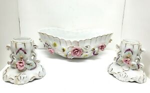 Vintage Bone China Flower Rose Porcelain Set of Candle Holders and Bowl AS IS