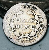 1850 Seated Liberty Half Dime 5C Ungraded Good Date 90% Silver US Coin CC3597
