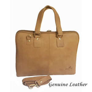 """Genuine Oiled Leather Large 16"""" Laptop Business Messenger Bag Tan RRP £ 249.00"""