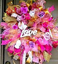 "Handmade Valentine's Day Pink Deco Mesh Burlap & Rose Wreath Door Decor 24"""