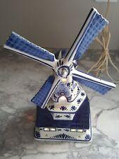 Art Deco DELFT's ELECTRIC CERAMIC LAMP BLUE & WHITE WINDMILL