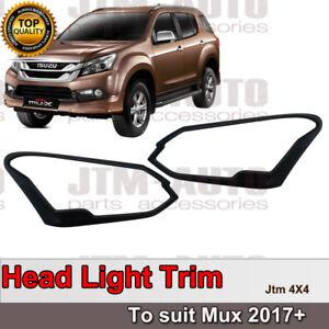 Black Head Light Cover Protector Trim to suit Isuzu Mux MU-X 2017+