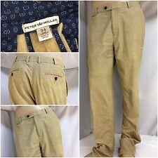 Peter Millar Pants 34x35 Tan 100% Cotton Thin Cords Flat Front YGI 2590A