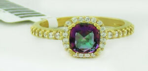 MYSTIC TOPAZ  0.75 Cts & WHITE SAPPHIRES RING .925 Sterling Silver * NWT *size 6