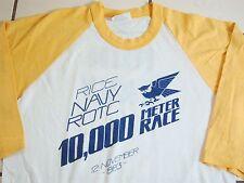 Vintage Rice University Navy ROTC Run Race 1983 80's College Raglan T Shirt S
