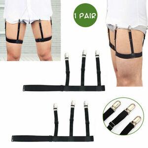 2PCS Male Hidden Shirt Stays Holder Garters Belt Elastic Locking Clamps Non Slip