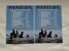 "WESTLIFE Live ""The Greatest Hits"" Farewell UK Tour 2012. Promo tour flyers x 2"