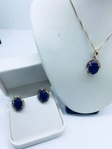 14k Solid Gold Genuine Lapis Lazuli Pendant, Chain & Earrings Set