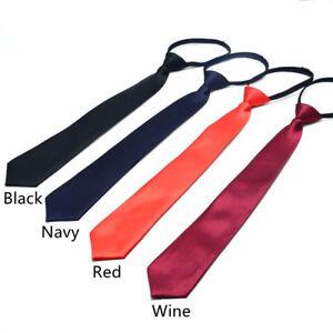 """Girls/Boys 15"""" Fashion Skinny Slim Pre-tied Necktie With Zipper for 8-16Y Kids"""