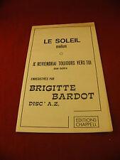 Spartito Il Sole Ci tornerò sicuramente toujours verso toi Brigitte Bardot