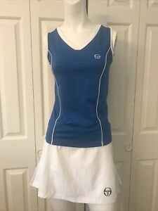 Sergio Tacchini Tennis Outfit Tank Top XS & Skirt Small Blue White Excellent