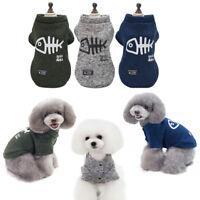 Cute Dog Warm Vest Clothes Fish Bone Pattern Winter Hoodie Coat Puppy Jumpsuit--