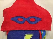 Kids Beach Hoodie Boy's Hooded Superhero Red Blue White Yellow Beach Towel