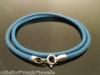 """3mm Light Blue Leather 925 Sterling Silver Necklace Or Wristband 16"""" 18"""" 20"""" 22"""""""