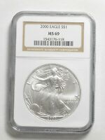 MS69 2000 American Silver Dollar $1 Eagle - Graded NGC 1 Oz .999 Fine
