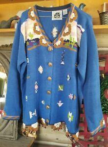 VTG STORYBOOK KNITS Cardigan Sweater Southwest Navajo Desert Cactus Kawaii Sz.L