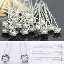20pc Flower Wedding Hair Pin Bridesmaid Crystal Diamante Pearl Bridal Clip GripK