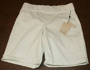 NYDJ Womens White Denim Sz 4 Lift Tuck Elastic Pull On Short Cool Embrace NWT