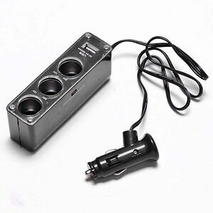 3 Way Multi Car Cigarette Socket Lighter Splitter Charger DC Adapter + USB