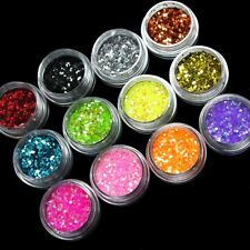 12 Color Brillante Polvo De Brillos Para Uñas Arte Acrílico Consejos Decoración