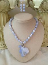 Chalcedony Agate Snake pendant beads freshwater pearls sterling necklace set